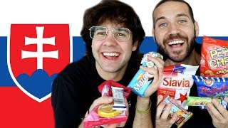 SPEAKING SLOVAK AND TRYING SLOVAK SNACKS PART TWO!! with David and Joe