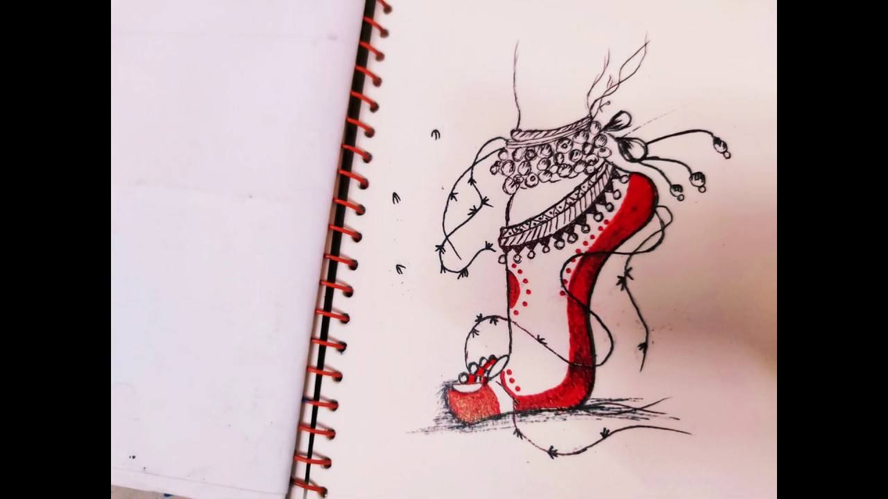 How To Draw Ghungroo In Girls Leg With Pen Beautiful Kathak Dancing Drawing Youtube
