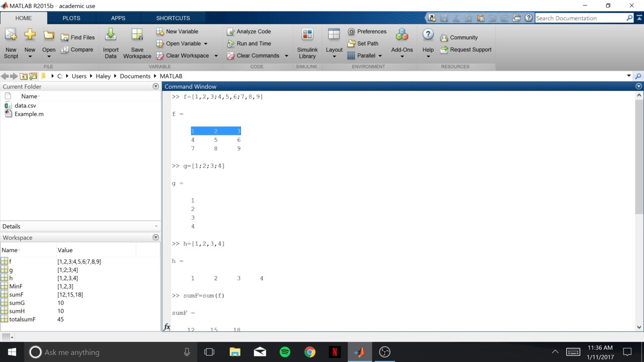 Using Sum, Min, Max and Find in Matlab