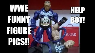 Funny WWE FIGURE PICS Review! Mattel Wrestling toys POSED FOR FUN!