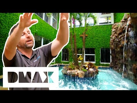 Lucas Creates Spa With Huge Water Wall That Resembles Costa Rica's Rainforests | Insane Pools