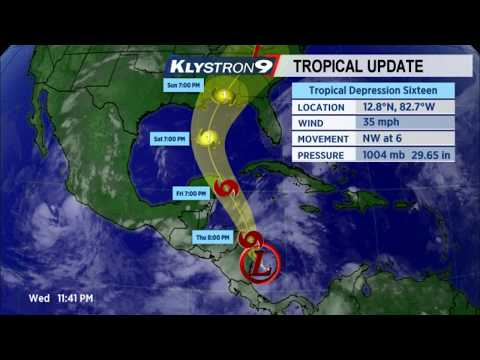 NEW Tropical depression 16 Forms in the Caribbean Sea moving NW into the Gulf of Mexico.