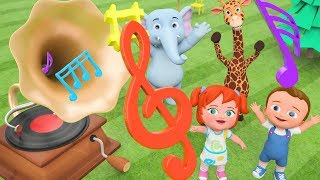 DIY Gramophone Toy Set - Little Babies Fun Play with Elephant and Giraffe Cartoons for Kids Learning