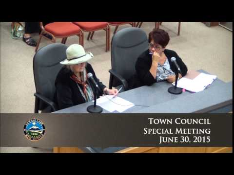 Town Of Taos, Town Council Special Meeting - June 30, 2015