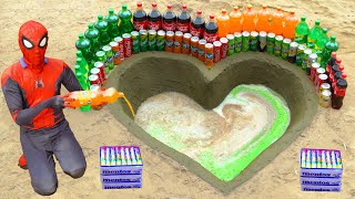 Spiderman Experiment : Coca Cola, Fanta, Pepsi, Sprite, Mirinda and Mentos  in Heart Underground