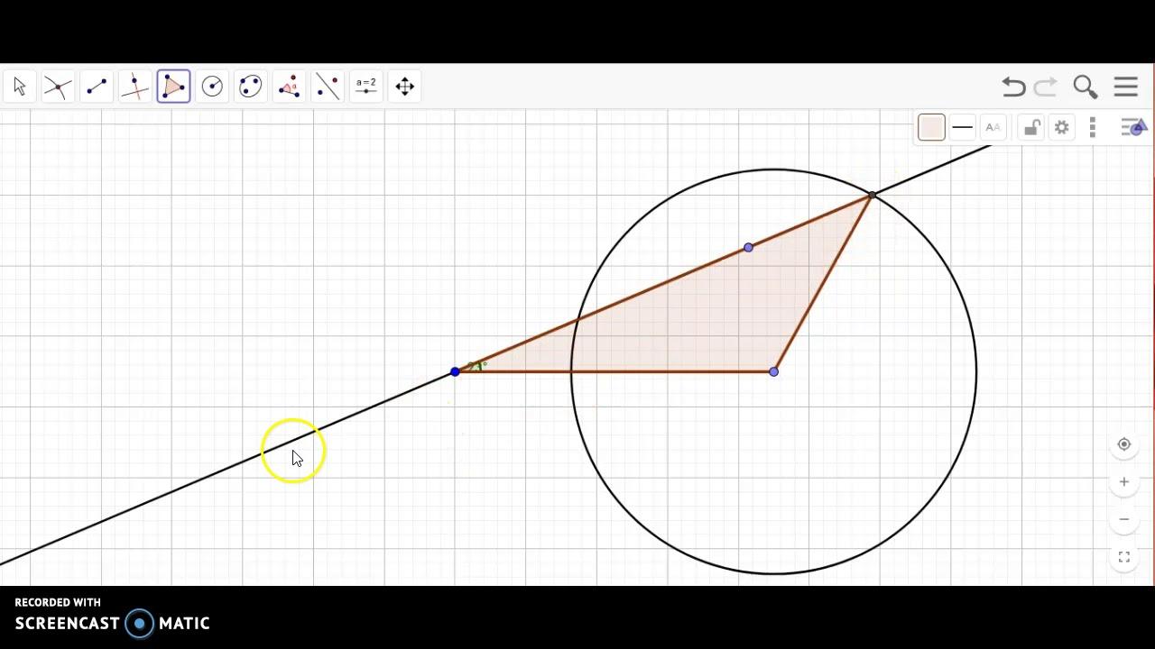 Opgave 4. Tegn trekant i Geogebra ud fra vinkel og given sidestykke