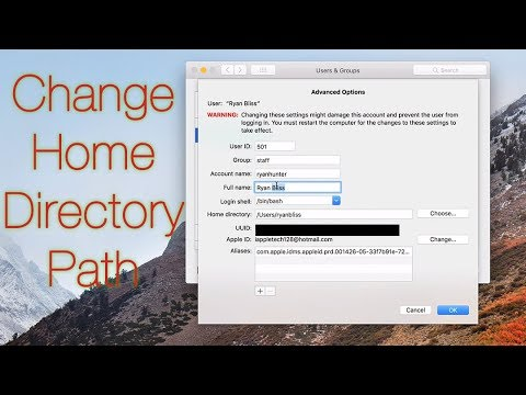 Change Mac Home Directory Path