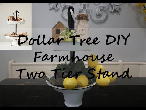 DOLLAR TREE DIY // FARMHOUSE TWO TIER STAND //