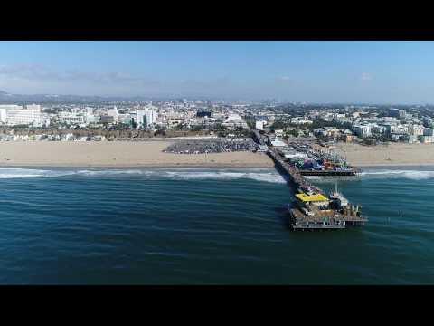 Santa Monica Beach, 4K Drone