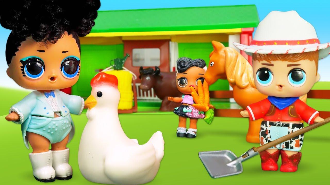 Le bambole LOL Surprise vanno alla fattoria. Giochi per bambini. Video con i giocattoli in italiano