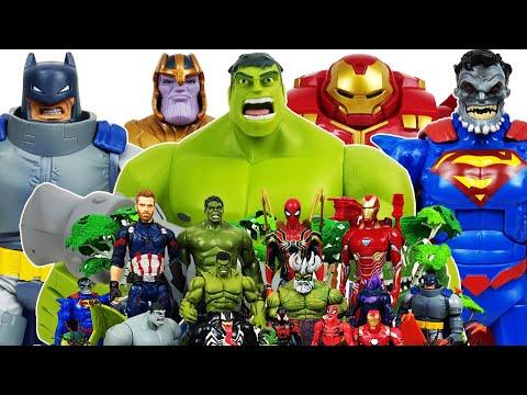 Hulk, Hulkbuster Vs Thanos! Avengers Go~! Iron Man, Superman, Batman, Captain America, Spider-Man