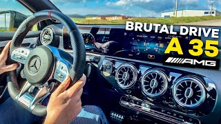 2019 MERCEDES-AMG A35 POV DRIVE SPORT+ BRUTAL on B Roads Acceleration 0-100kmh LOUD Exhaust Sound!!!