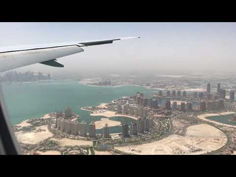 Landing Qatar Airways 777-300W at Doha Hamad International Airport