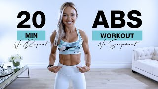 20 Min ABS WORKOUT at Home [NO EQUIPMENT + NO REPEAT] Caroline Girvan