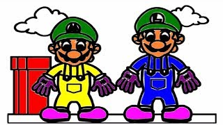 Kids Drawing | How to draw Mario Brothers and Coloring | Drawing For Kids, Toddler