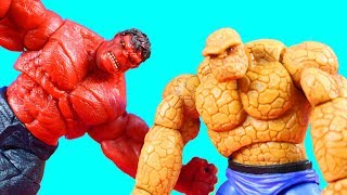 Marvel Toy Collection Hulk Battles Fantastic 4 Thing Thor Hammer Smash Spider-man Toy Review