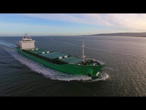 DJI Phantom 3 Advanced -  Cargo Ship Arklow Mill Arrives On Lough Foyle From Russia