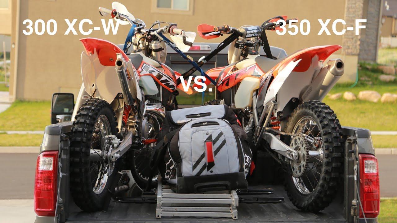 ktm 350 xc-f vs 300 xc-w on the razorback trail - youtube