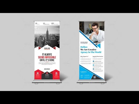 How to Design Corporate Roll Up Banner or X Banner in Photoshop - Graphic Design Tutorial Bangla