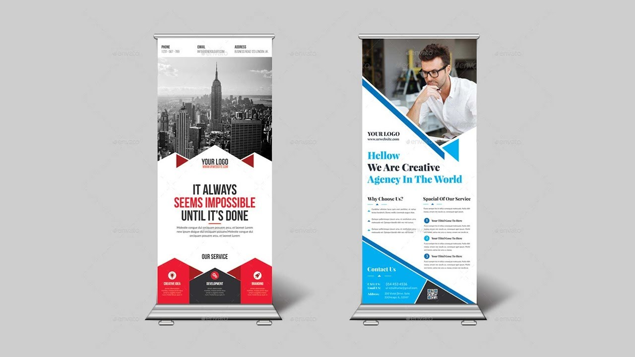 How To Design Corporate Roll Up Banner Or X Banner In