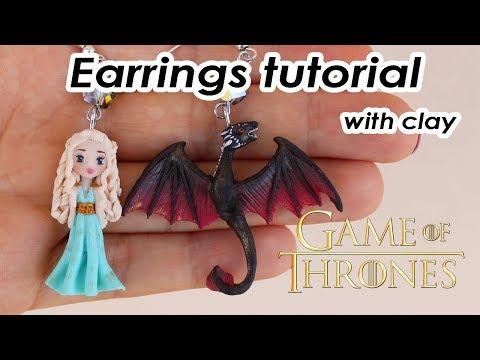 [ENG] Earrings Tutorial Daenerys And Drogon Inspired - Polymer Clay - Khaleesi And Drogon Fanart