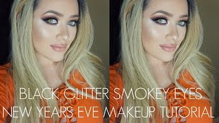 black glitter smokey eyes   new years eve inspired makeup tutorial