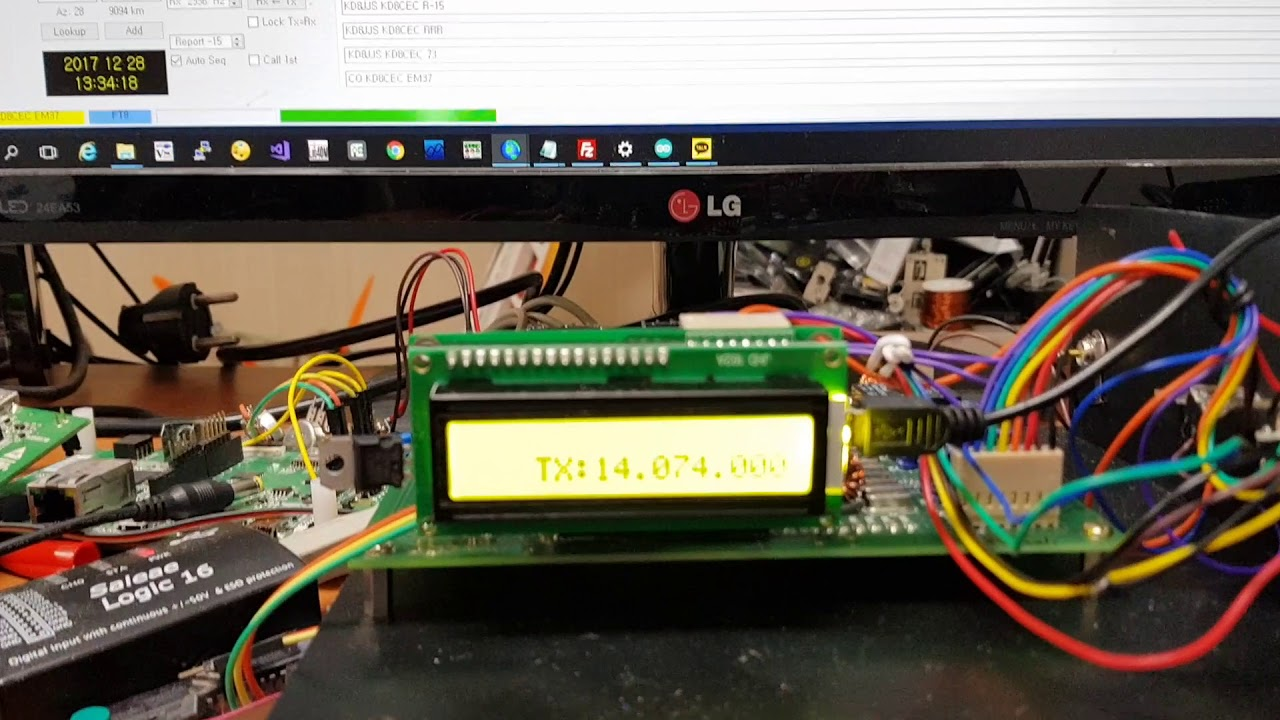 ubitx hf tranceiver for amateur radio with wsjt x software cat interface test [ 1280 x 720 Pixel ]