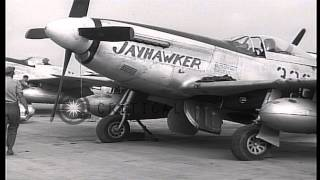 Parked P-51 Mustangs of US Army Air Force inspected at their base in Iwo Jima, Ja...HD Stock Footage