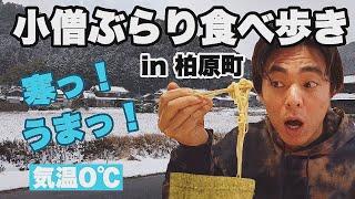 【小僧ぶらり食べ歩き】雪が積もる柏原町まで車でラーメンを食べにきた。