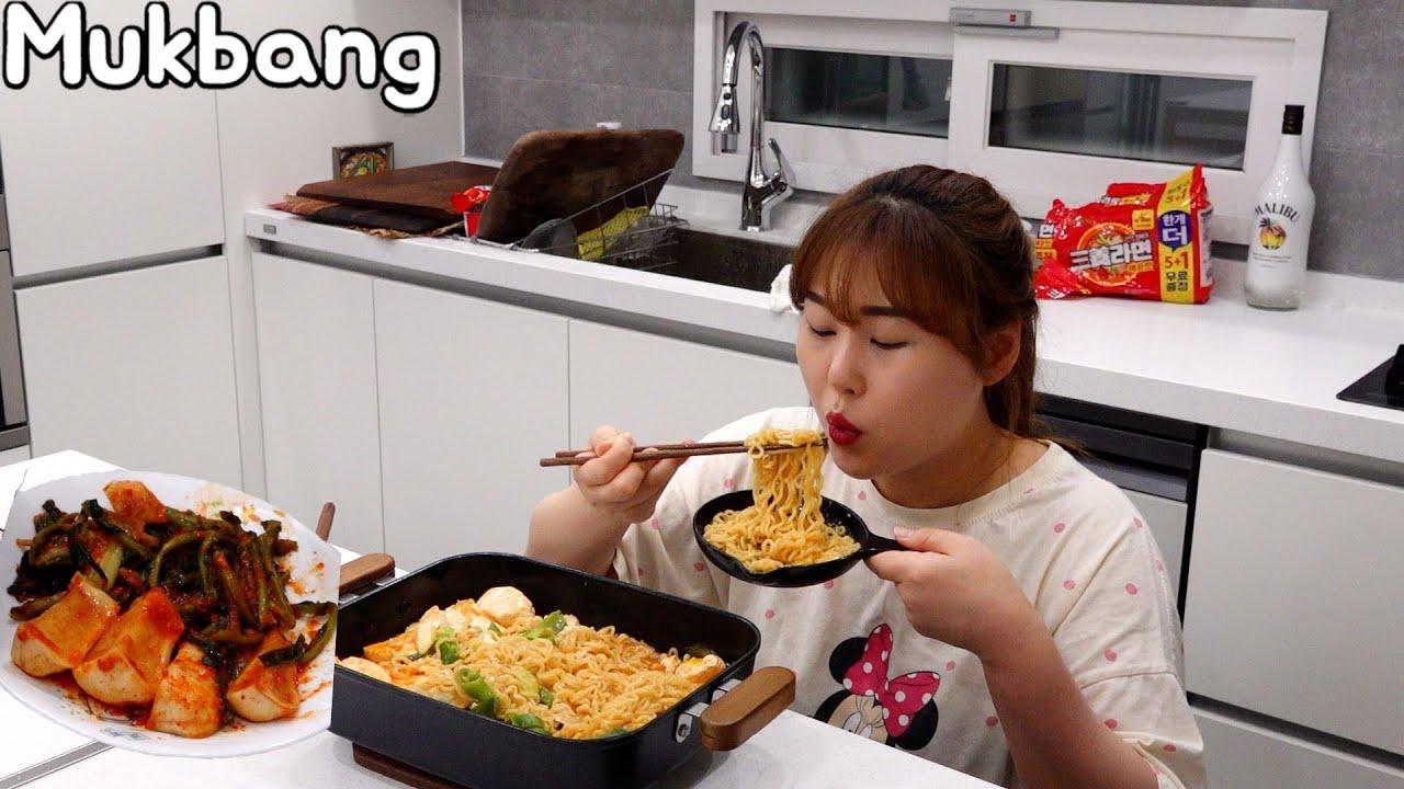 새로운 주방에서 순두부 만두 라면 먹방 🍜 Mukbang