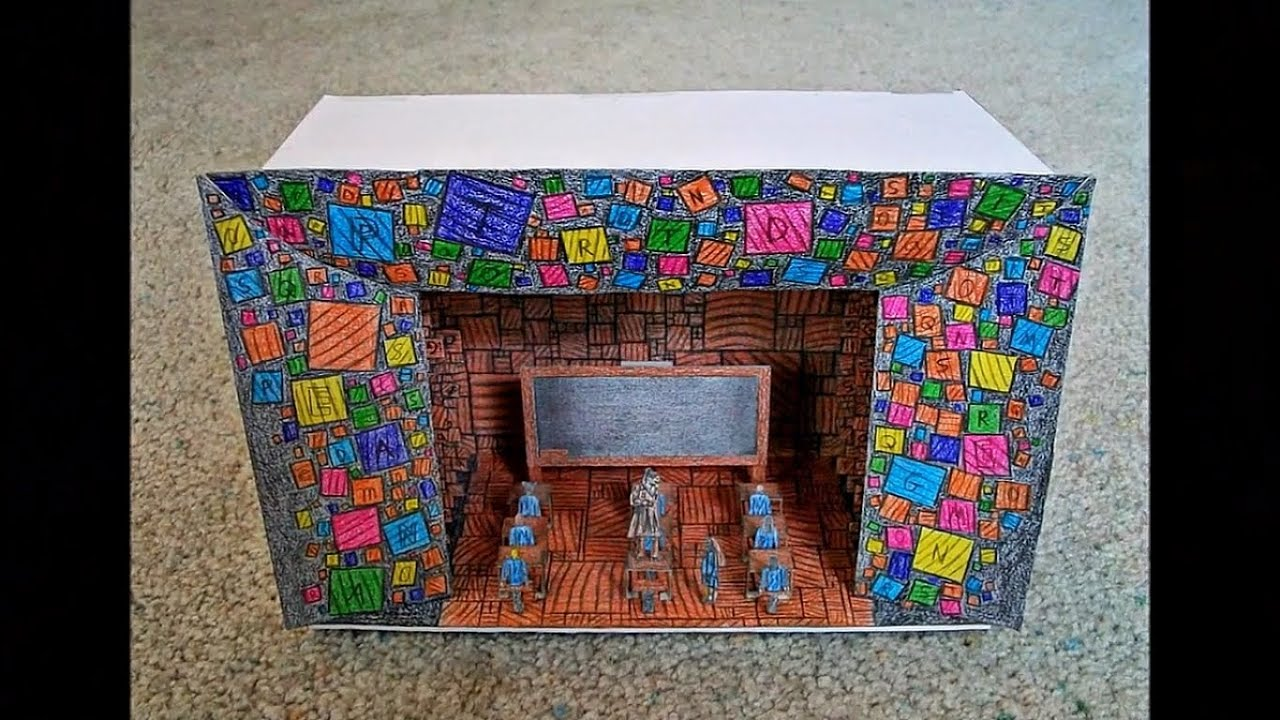 Paper model of the matilda the musical scenic design youtube for How to make a paper design