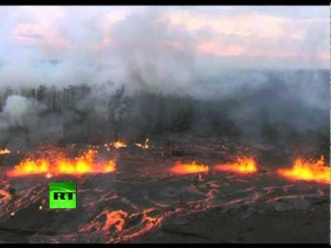 Aerial video of Kilauea Volcano eruption in Hawaii