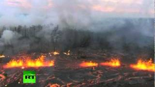 Aerial video of Kilauea Volcano eruption in Hawaii