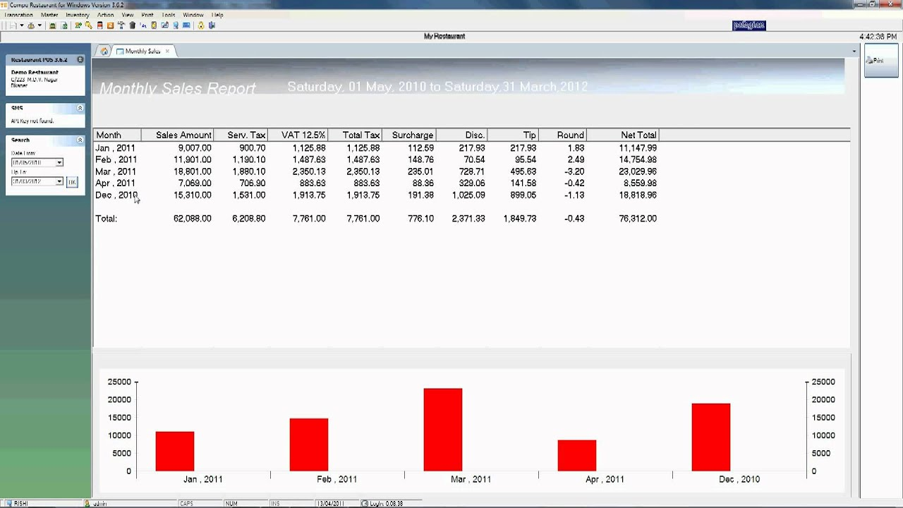 Monthly Sales Report View In Restaurant Billing Software For Windows    YouTube  Monthly Sales Report Spreadsheet