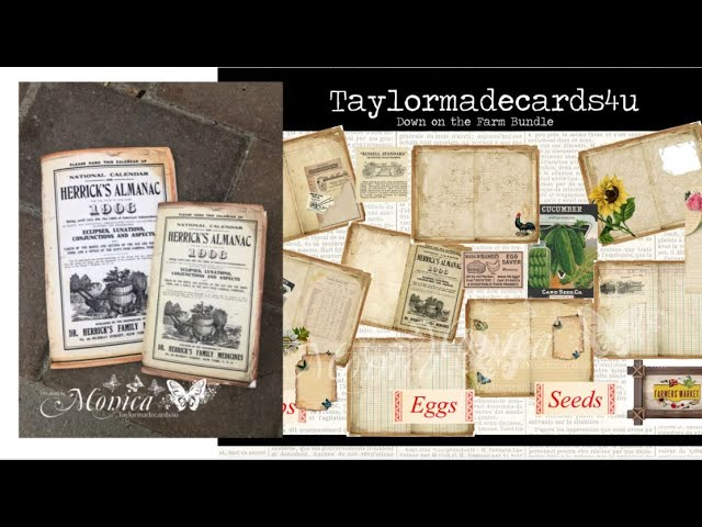 Creating Junk Journal inserts using kit Down on the Farm