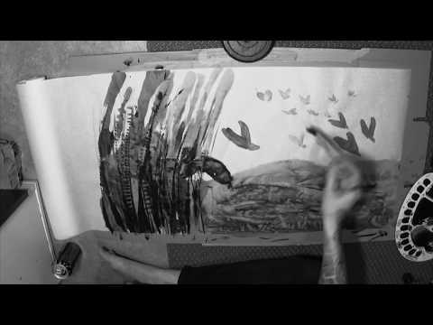 Sumi-e / ink wash painting - Birds at lake