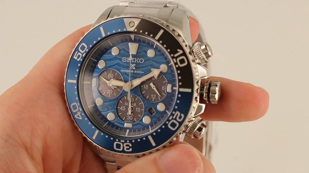 NEW Seiko Prospex Save The Ocean Diver's Solar Chronograph Watch SSC741P1 -  Close Up