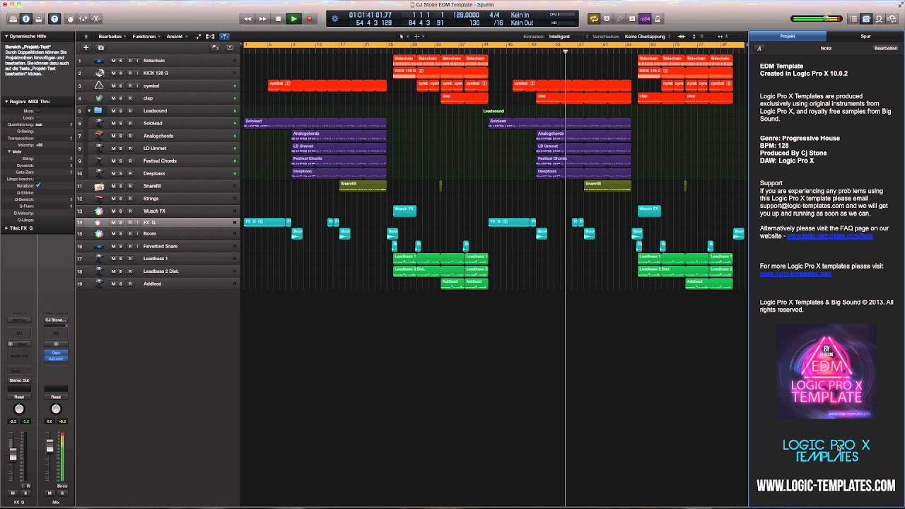 Logic Pro X Template EDM By Cj Stone YouTube - Edm template