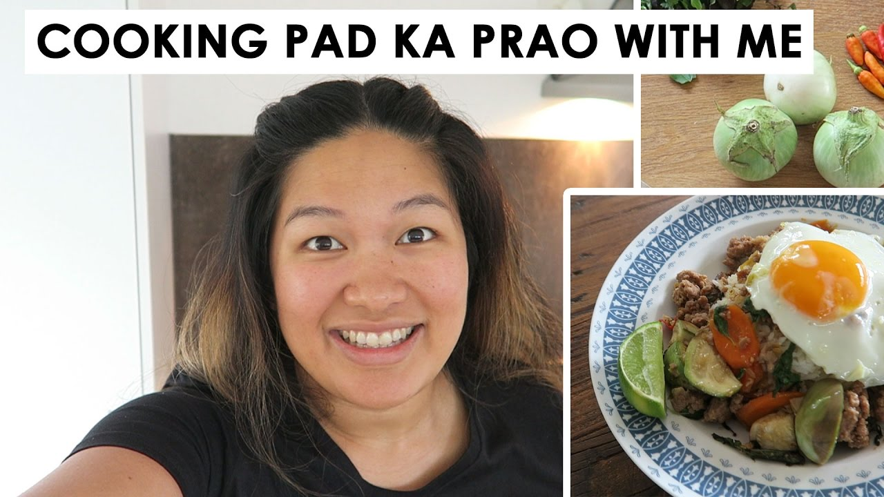 Cooking Pad Ka Prao (Thai Basil Stir Fry) with me | Kwanta