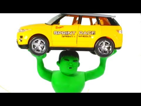 STRONG HULK LIFTS THE CAR ❤ Spiderman, Hulk & Frozen Play Doh Cartoons For Kids