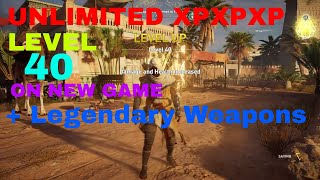 Assassins Creed Origins, Max level 40 and legendary weapons at the start of the game!!