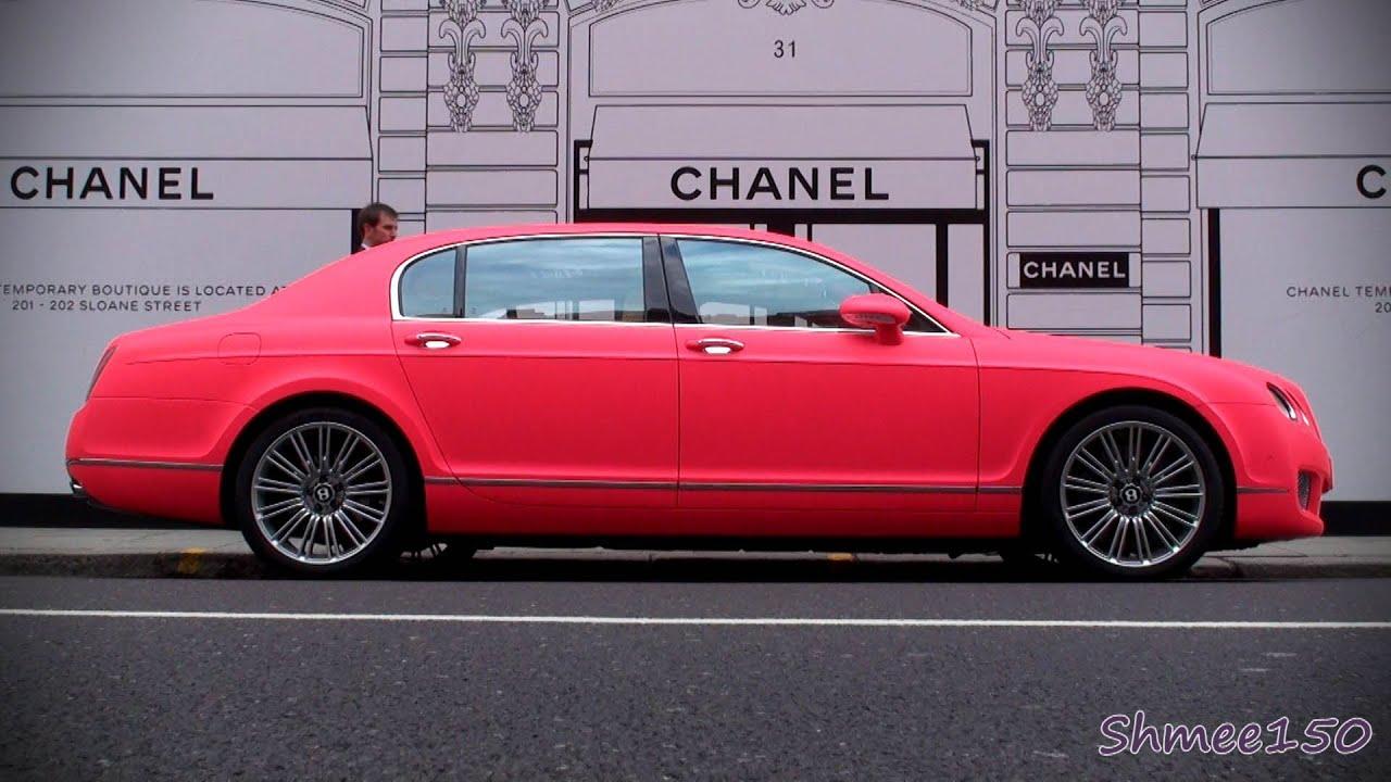 Matte Fluorescent Pink Bentley Flying Spur Speed Details
