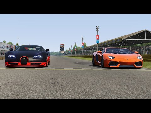 Lamborghini Aventador LP700-4 vs Bugatti Veyron 16.4 SS at Monza Full Course