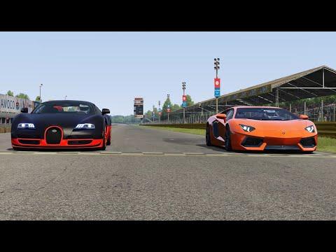 Lamborghini Aventador LP700-4 vs Bugatti Veyron 16.4 SS at Monza Full Course