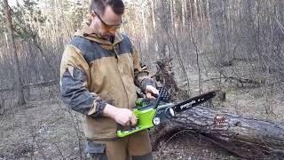 видео Аккумуляторная цепная пила GreenWorks G24CS25