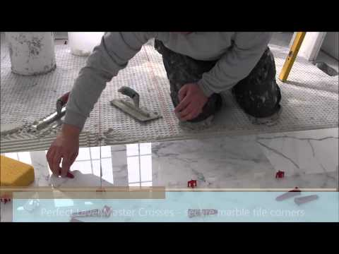 """12""""x24"""" (30x60) marble tile installation using Perfect Level Master™ T-Lock™"""