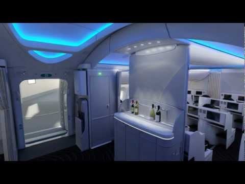 Boeing 787 Dreamliner interior - fly through