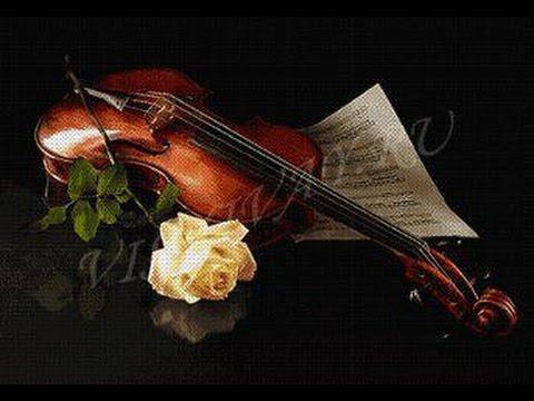 Скрипка с розой вышивка