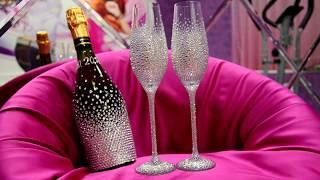 Свадебные бокалы и шампанское в стразах https://vk.com/club53829666