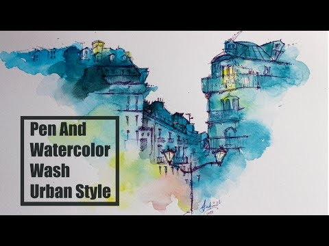 Pen And Watercolor Wash Old Buildings | Saifi Arts